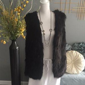 Jackets & Blazers - Faux fur vest w/sweater back